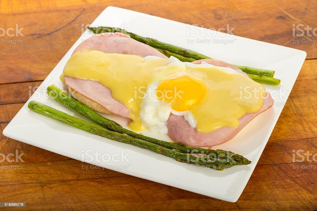 Egg Benedict and Asparagus stock photo