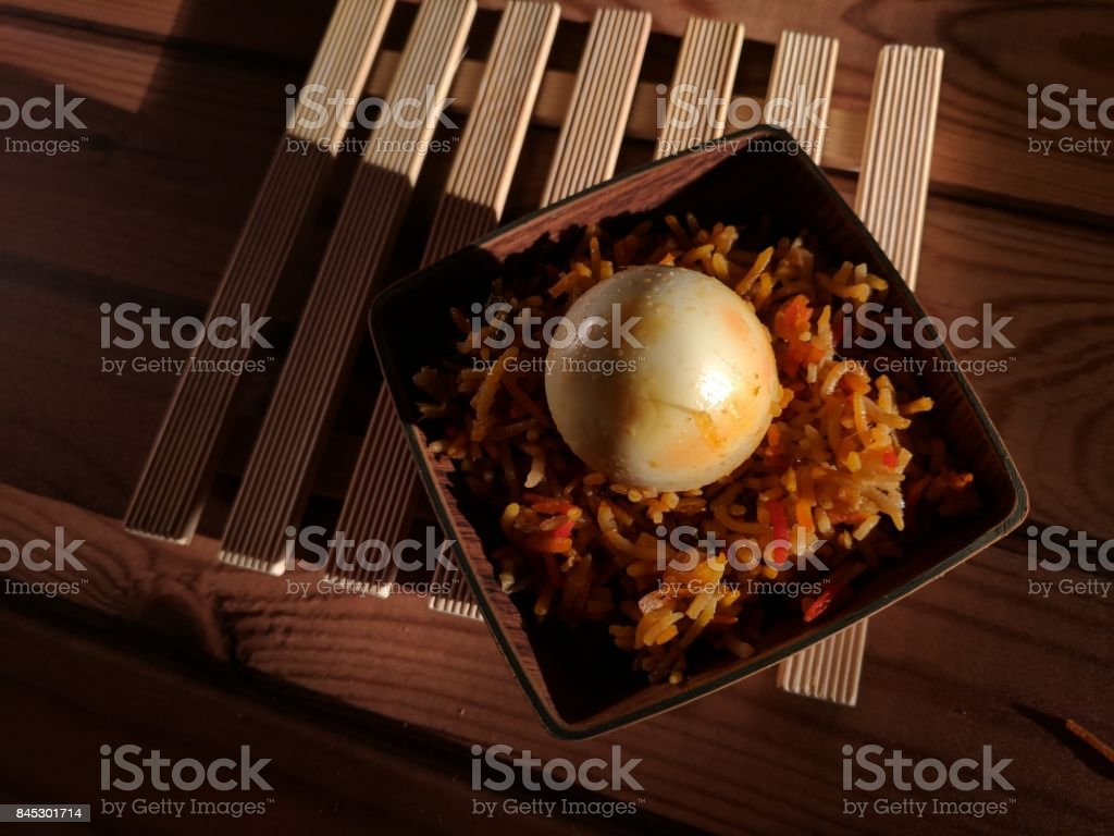 egg biryani rice stock photo