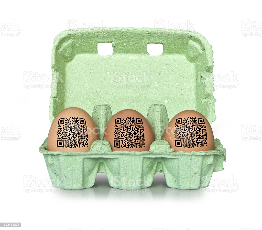Egg box with QR codes, isolated on white background stock photo