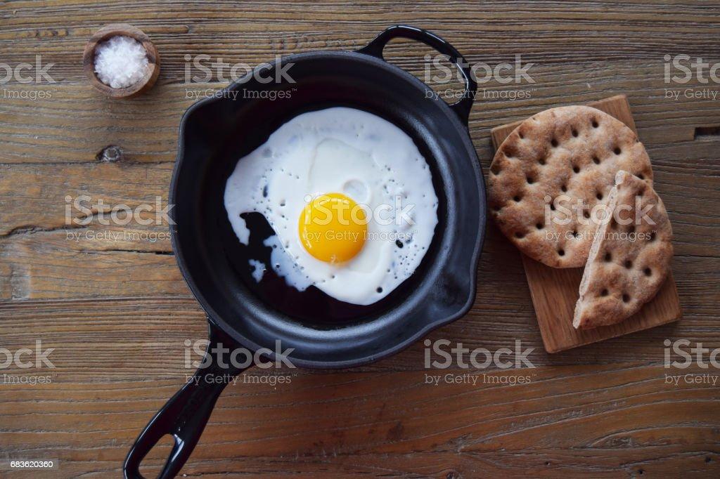 Egg, bread and salt stock photo