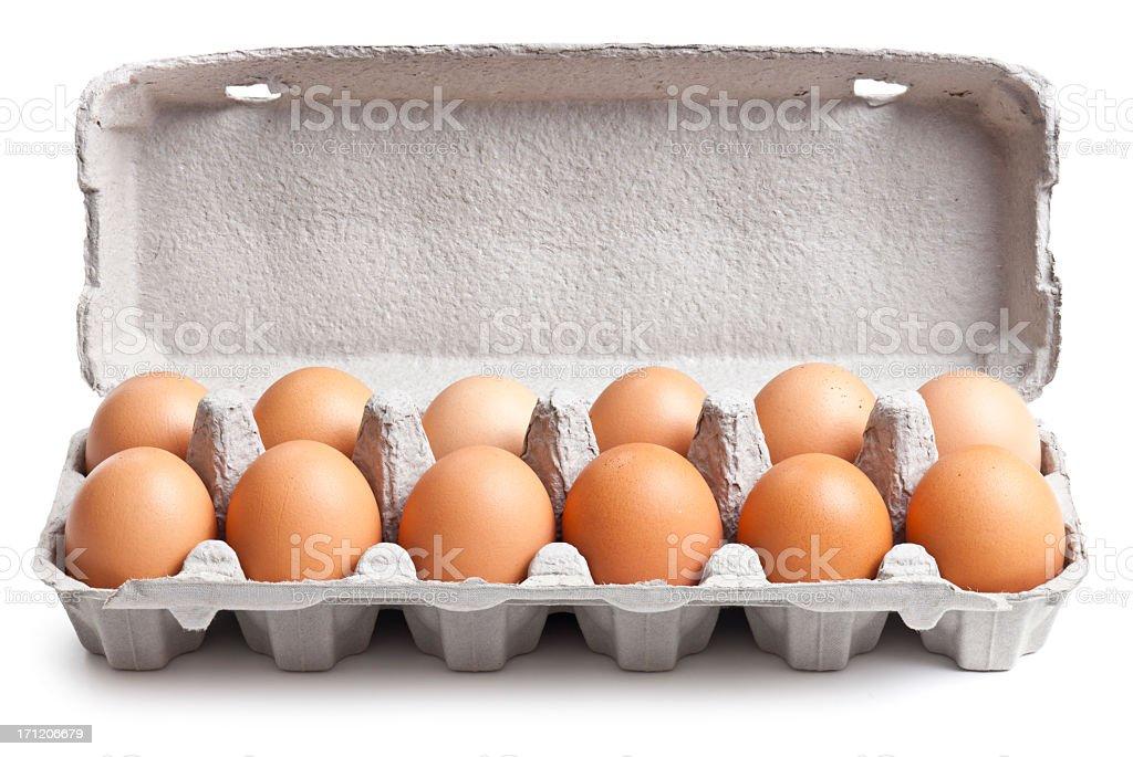 Egg Carton Isolated + Clipping Path stock photo