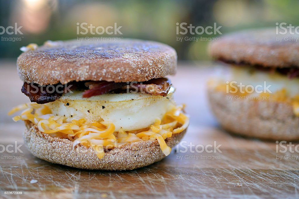 egg, cheese, and bacon mcmuffin stock photo