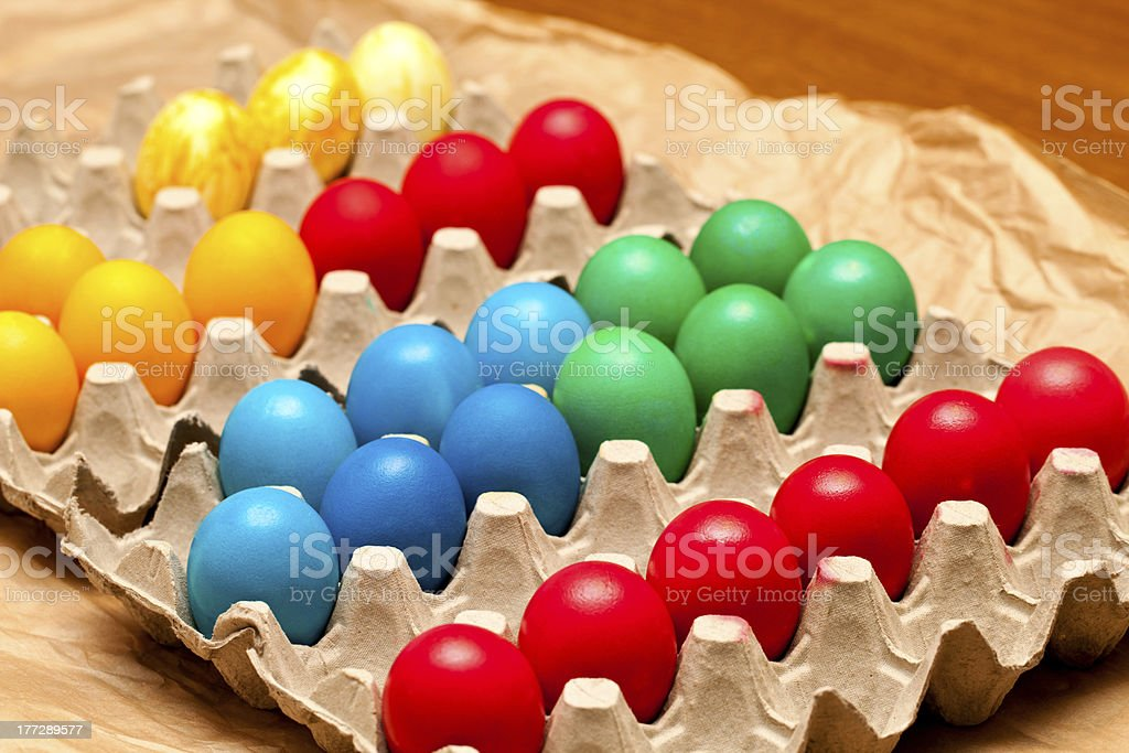 Egg Crate With Easter Eggs royalty-free stock photo