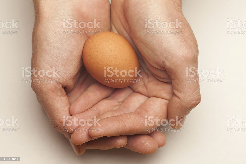 Egg cupped in hands stock photo