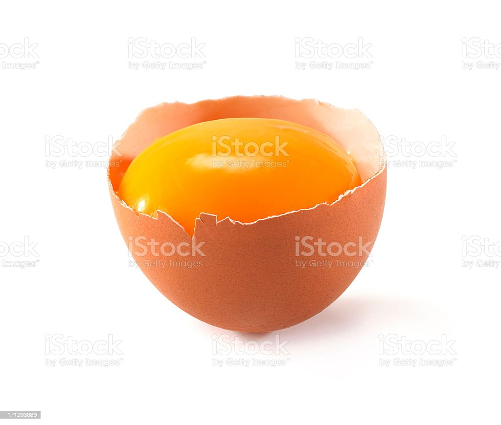 egg cut in half stock photo