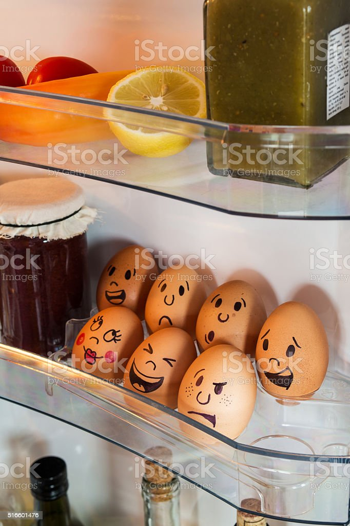 Egg faces with emotions stock photo