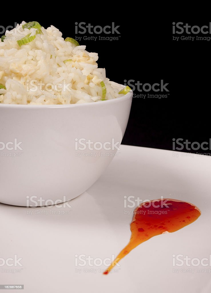 Egg Fried Rice and Sweet Chilli Sauce royalty-free stock photo