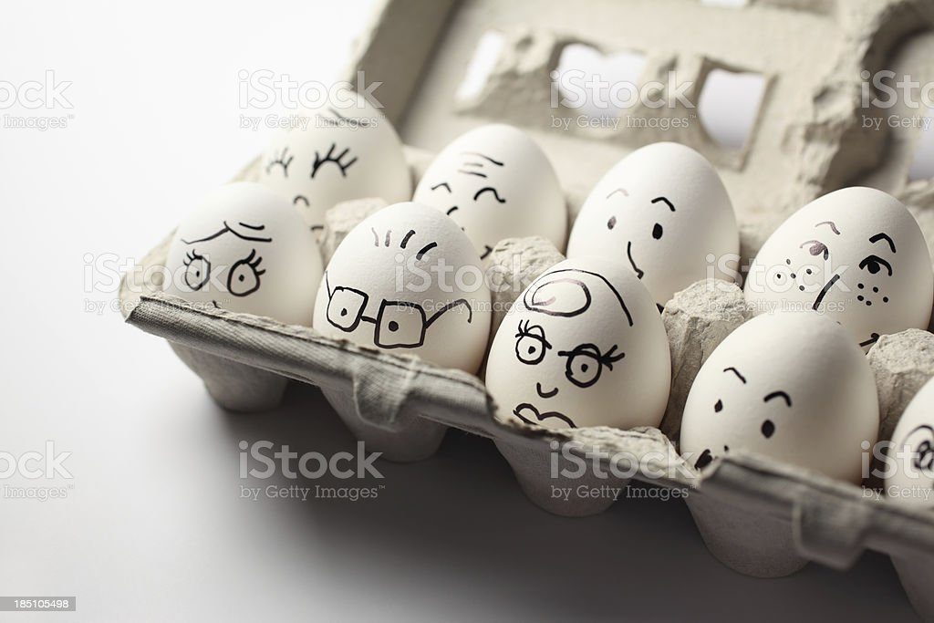 Egg Heads in the Carton stock photo