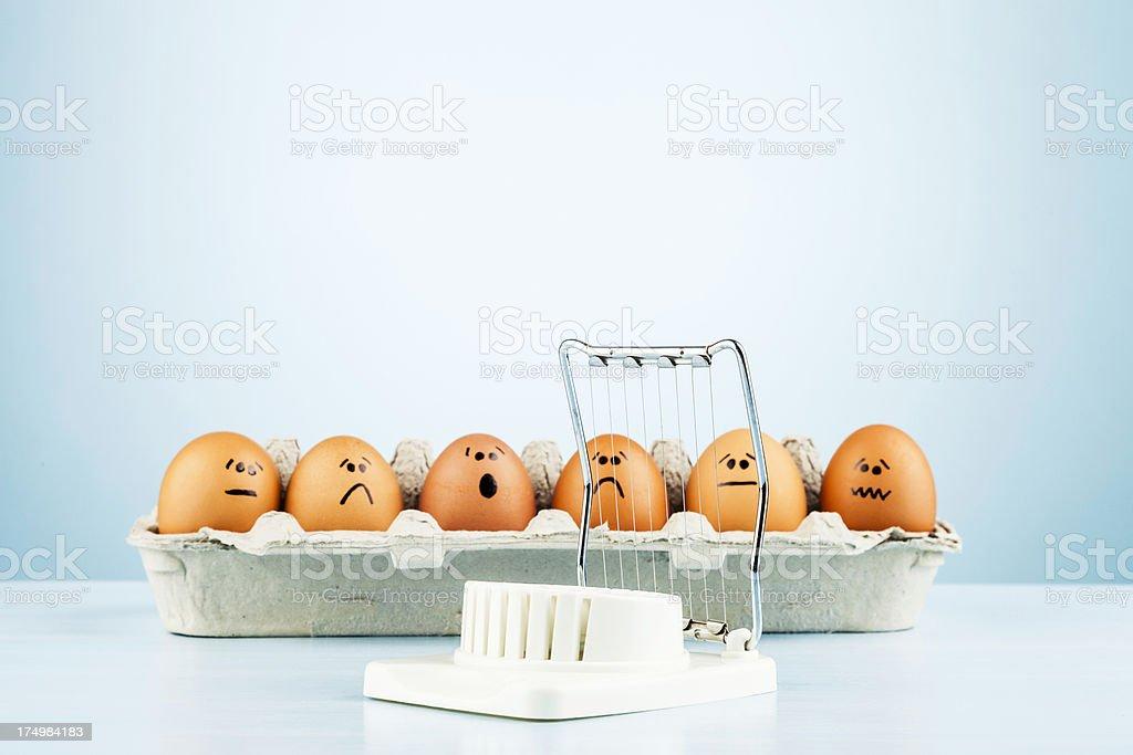 Egg Humor: All Fear the Slicer stock photo