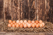 Egg in hay on old wooden background