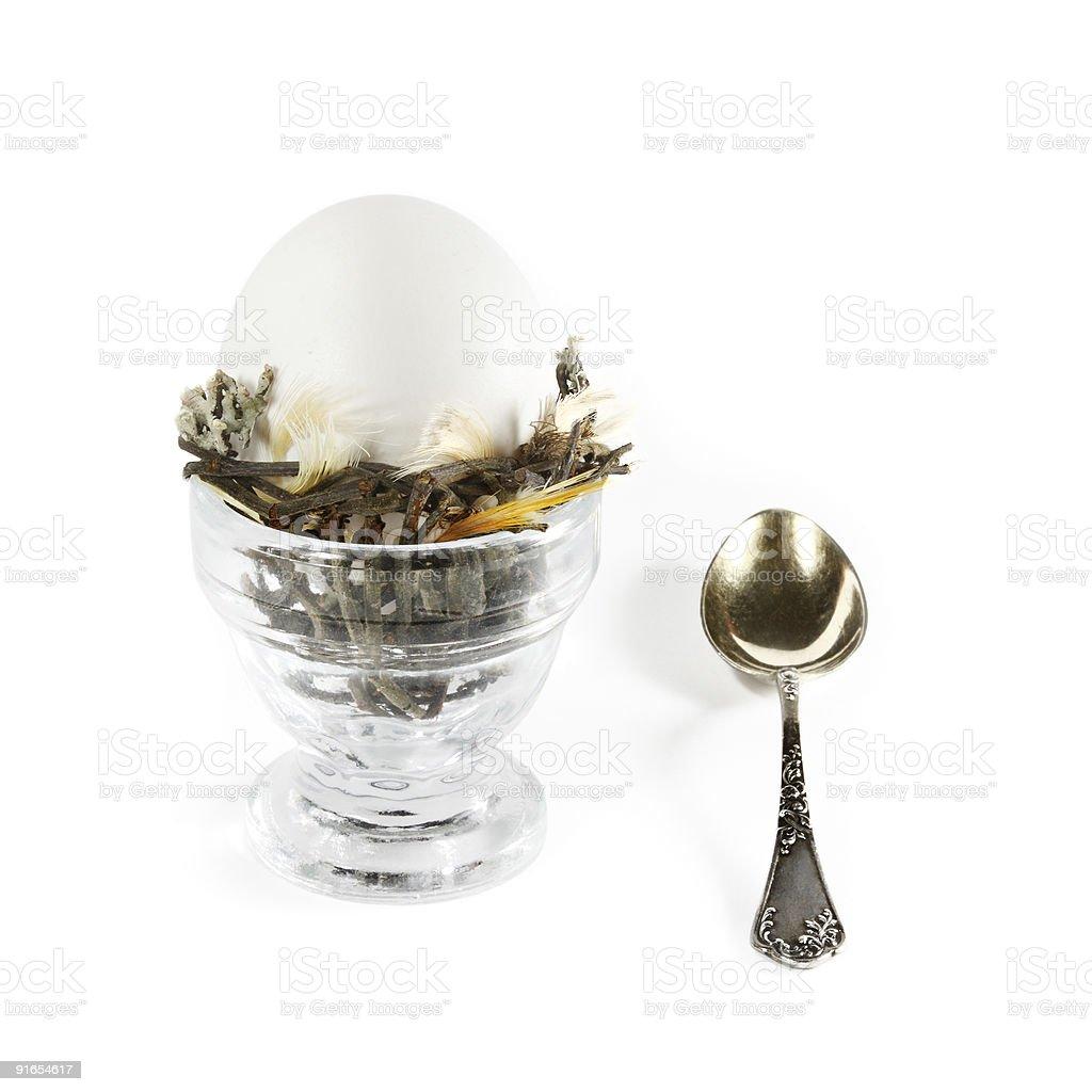 Egg in nest for breakfast stock photo