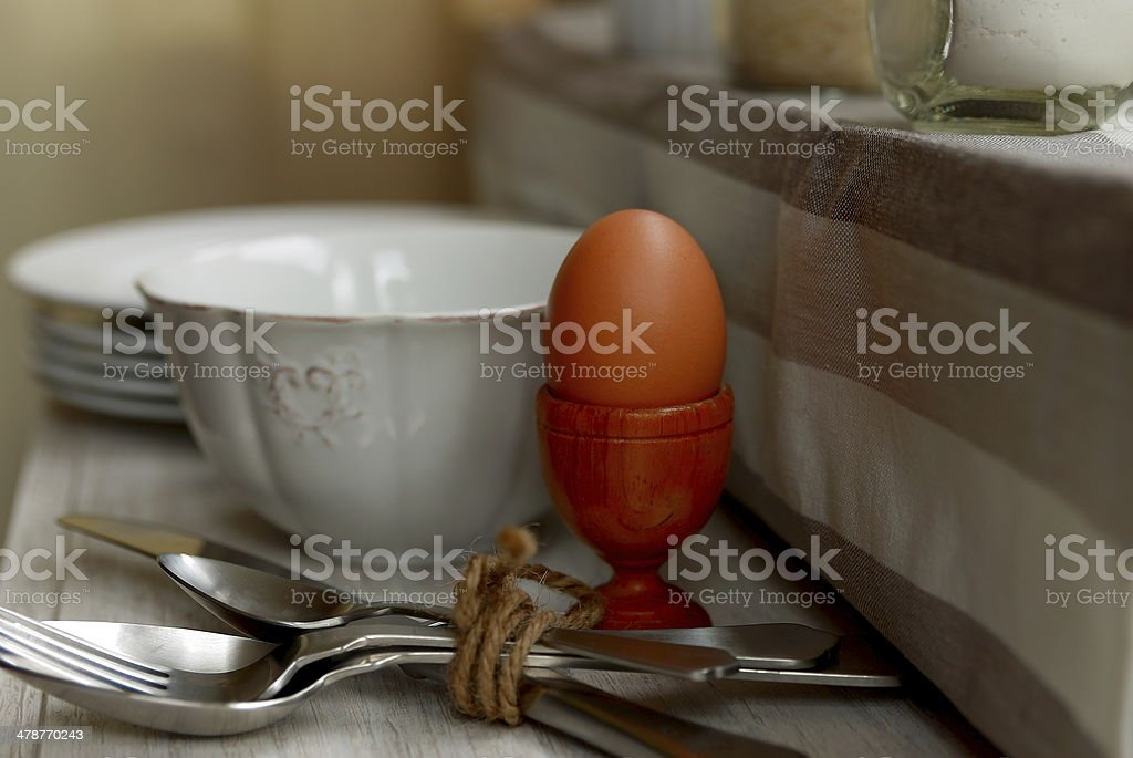 Egg in the kitchen stock photo