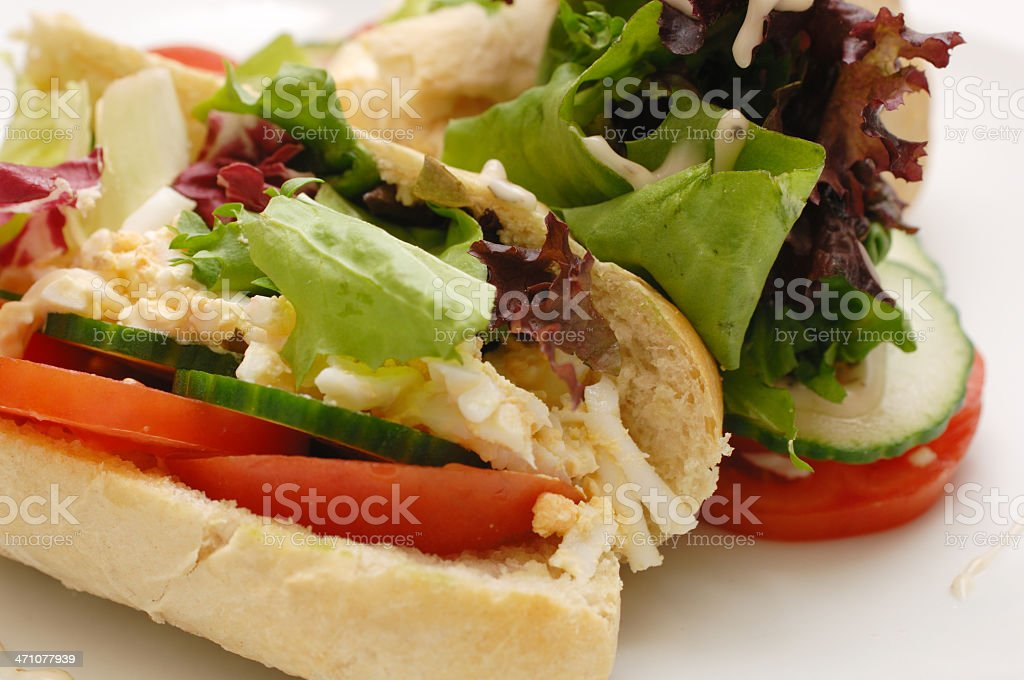 Egg mayonnaise & salad baguette close up royalty-free stock photo