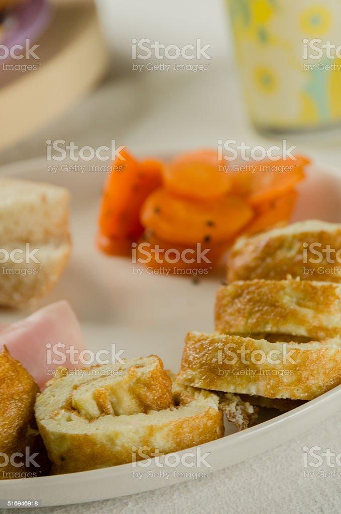 Egg Omelet Ham Bread Slices and Boiled Carrots stock photo