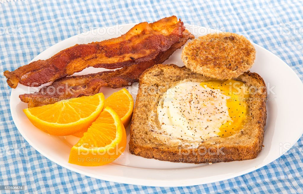 Egg on Toast with Bacon stock photo