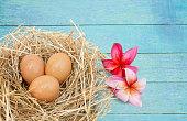 Egg on vintage wood texture background