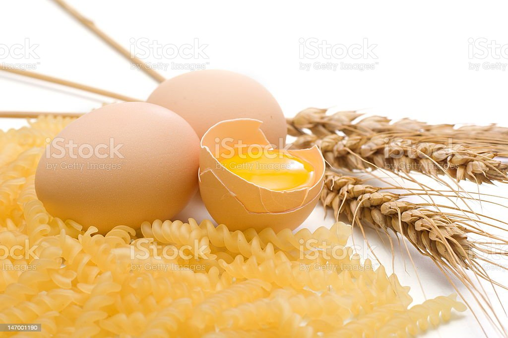 Egg, pasta and wheat royalty-free stock photo