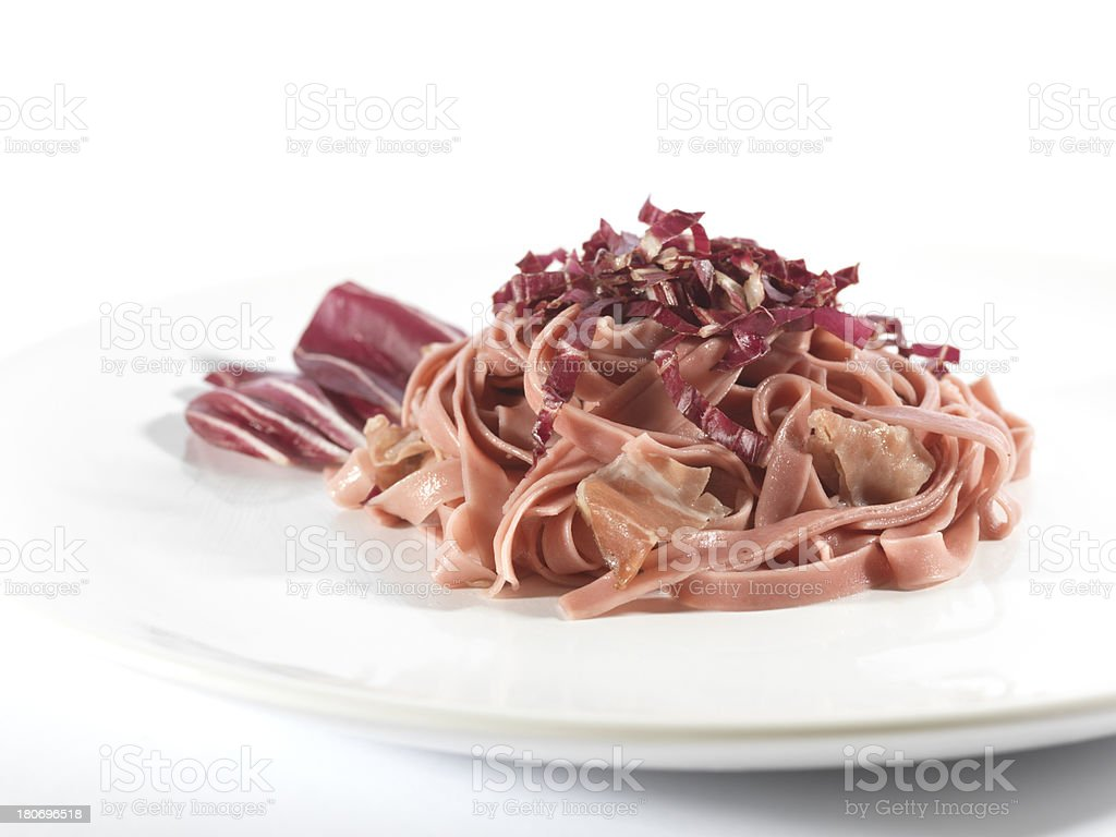 egg pasta with radicchio and ham royalty-free stock photo