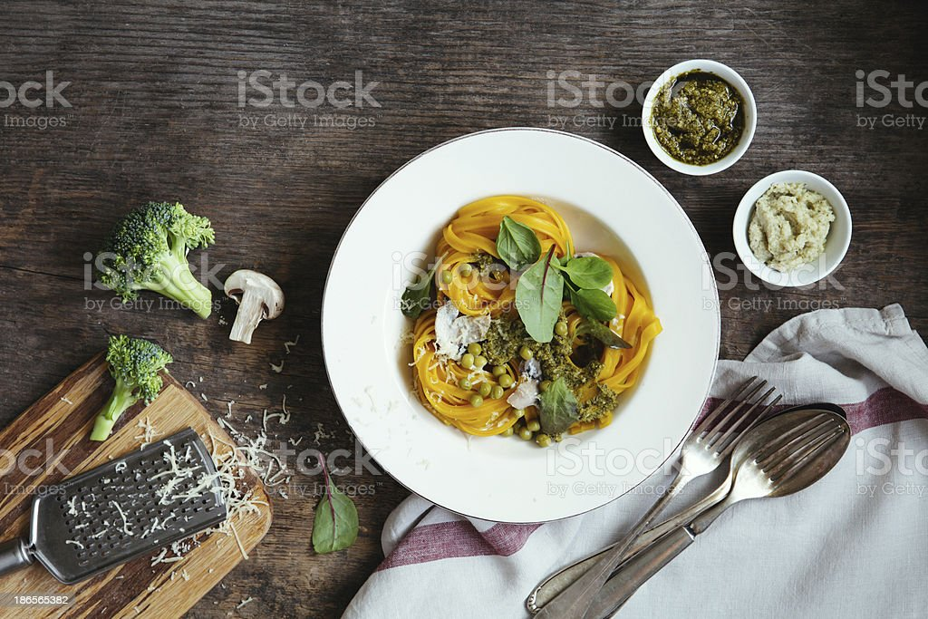 Egg pasta with sauce stock photo