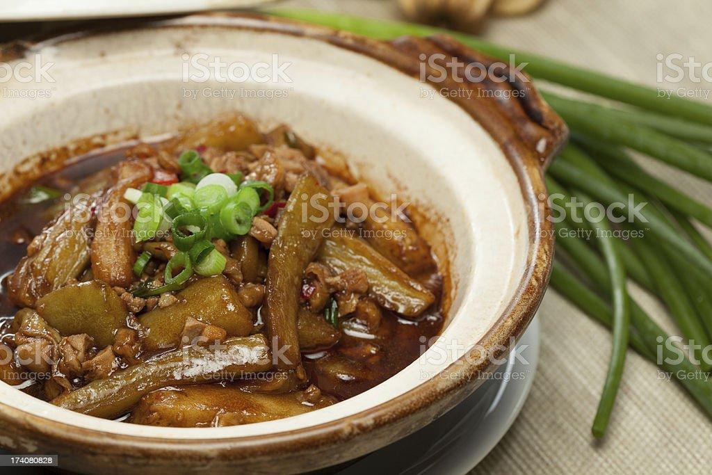 egg plant hot pot  鱼香茄子煲 stock photo