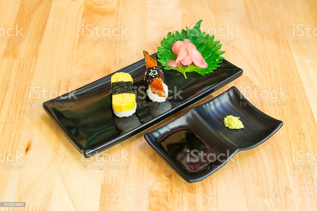egg roll sushi and grilled eel sushi set stock photo