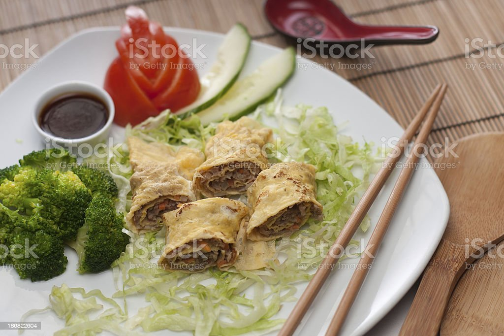Egg rolls dimsum stock photo