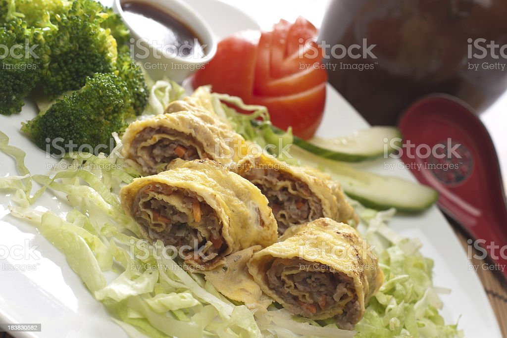 Egg rolls with beef stock photo
