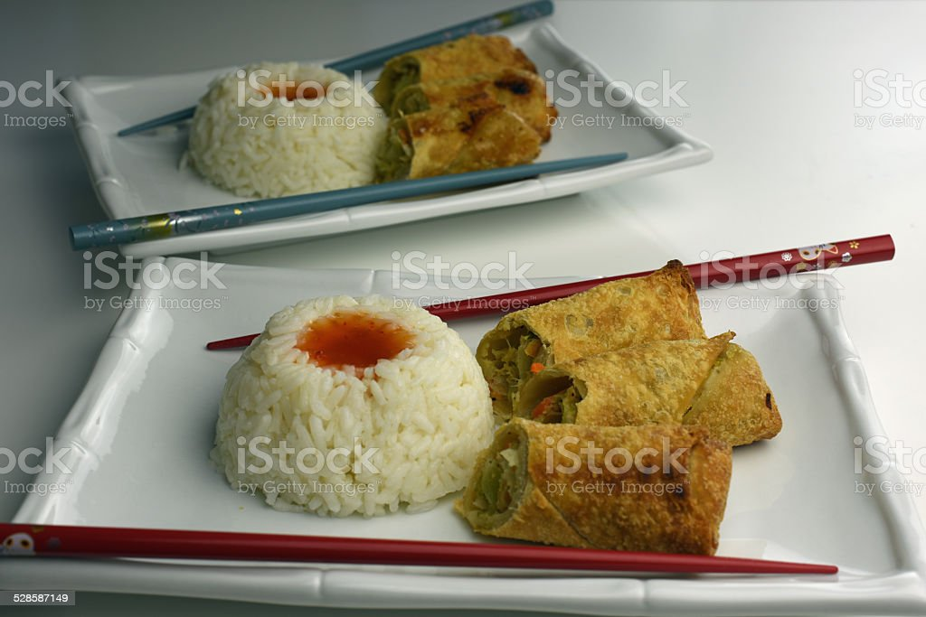 Egg Rolls With Rice royalty-free stock photo
