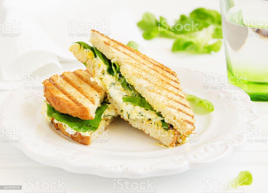 Egg Salad Sandwich. American kitchen. stock photo