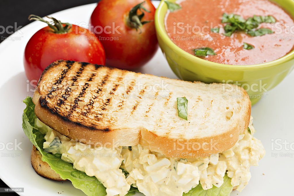 Egg Salad Sandwich And Soup stock photo