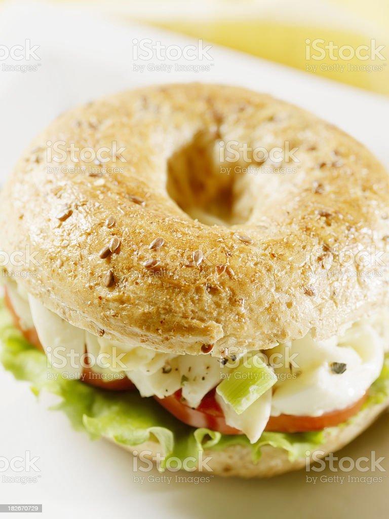 Egg Salad Sandwich on a Multigrain Bagel royalty-free stock photo