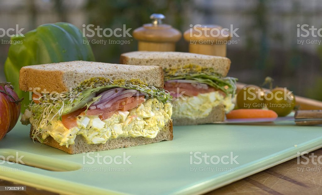 Egg Salad Sandwich Picnic Lunch Prepared with Hard Boiled Eggs royalty-free stock photo
