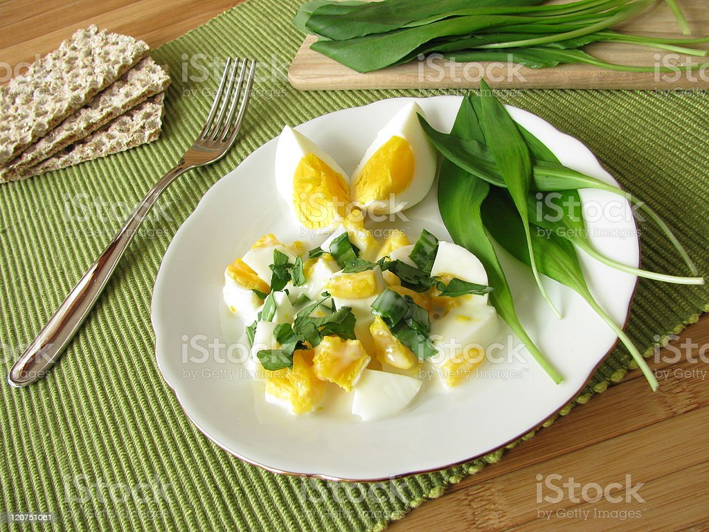 Egg salad with ramsons royalty-free stock photo