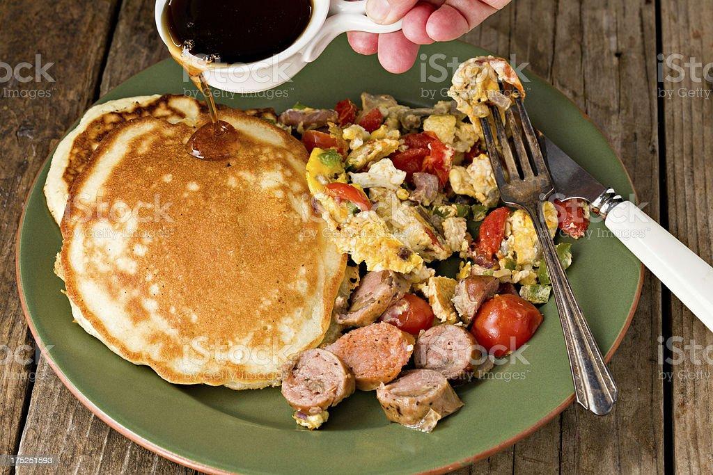 Egg Scramble And Pancakes royalty-free stock photo