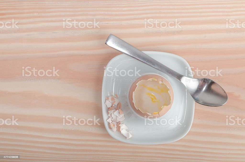 Egg shells in an egg cup stock photo