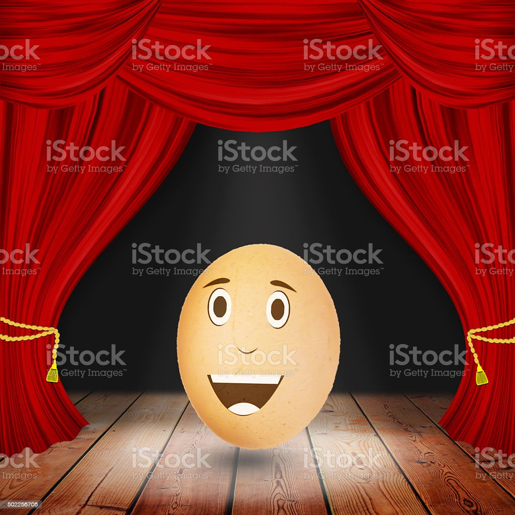 Egg show,Theater stage with red curtains and spotlights. Theatri stock photo