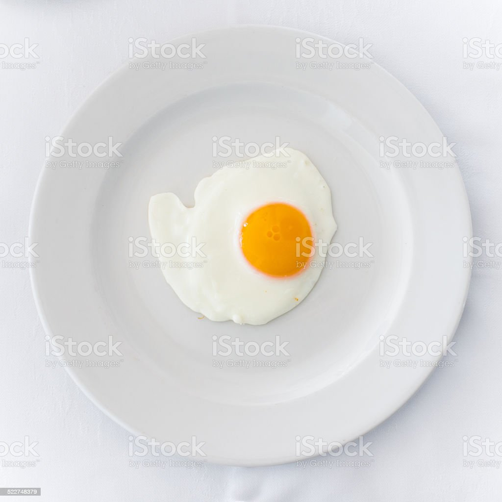 egg sunny-side up in white plate stock photo