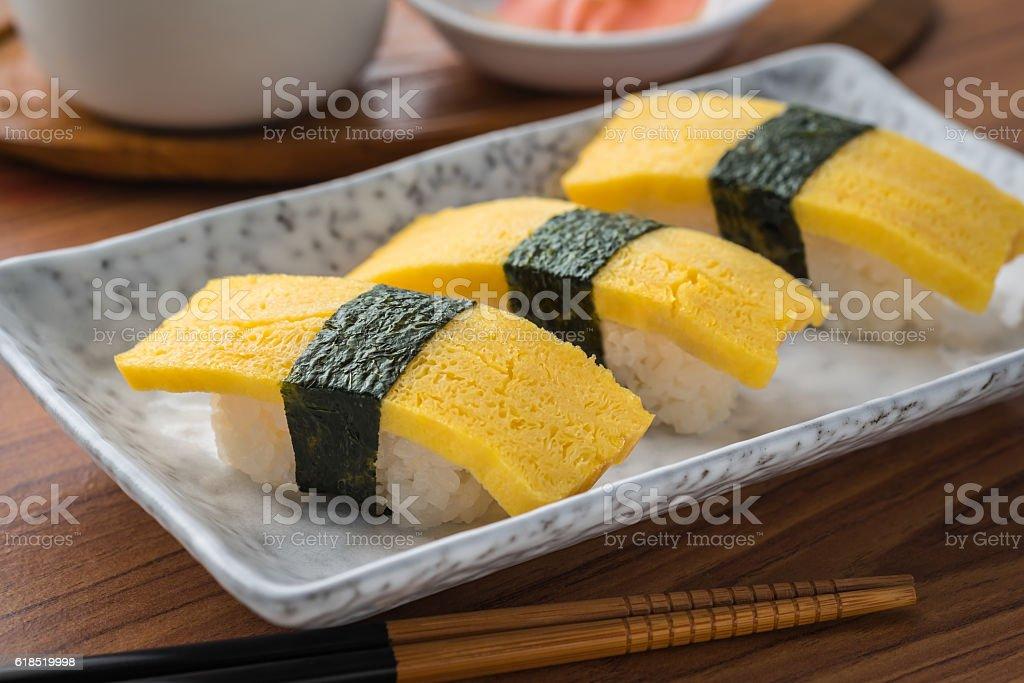 Egg sushi or tamako sushi, Japanese food stock photo