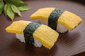 Egg sushi or tamako sushi, Japanese food