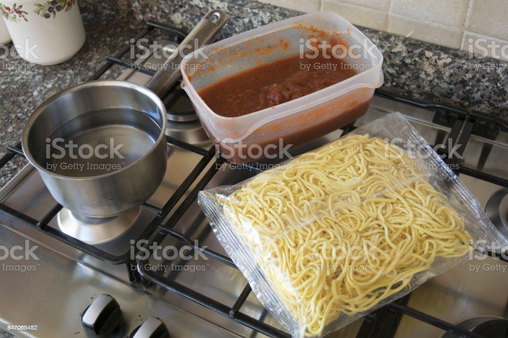 egg taglionini with tomato sauce stock photo