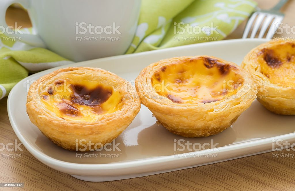 Egg tart on plate and tea cup stock photo