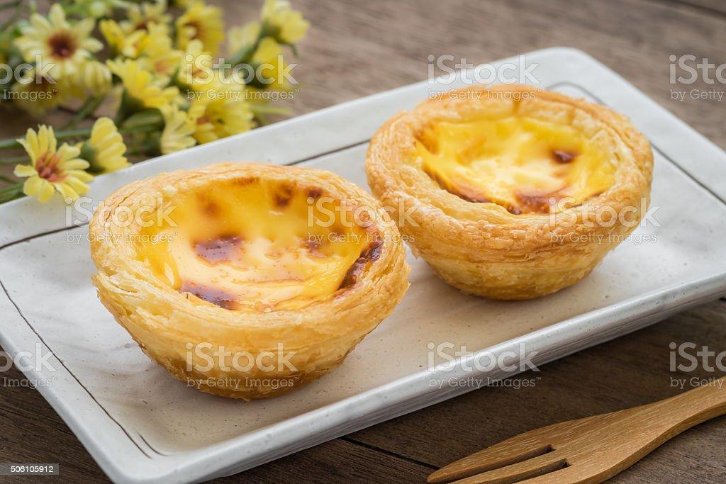 Egg tart on plate stock photo