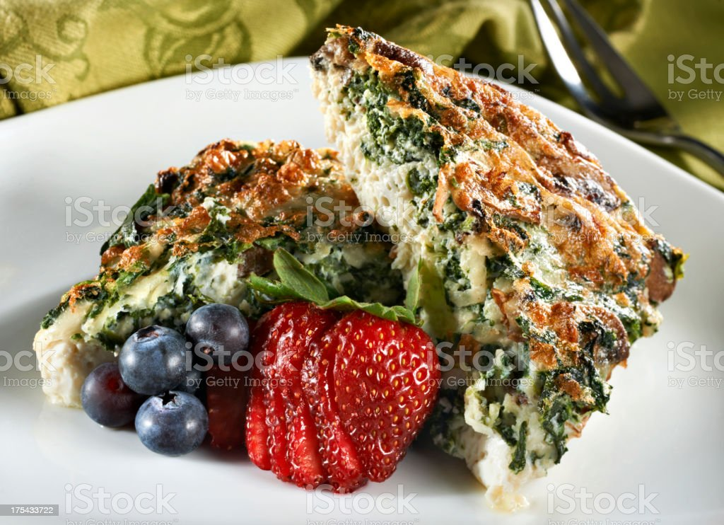 Egg White and spinach Quiche stock photo