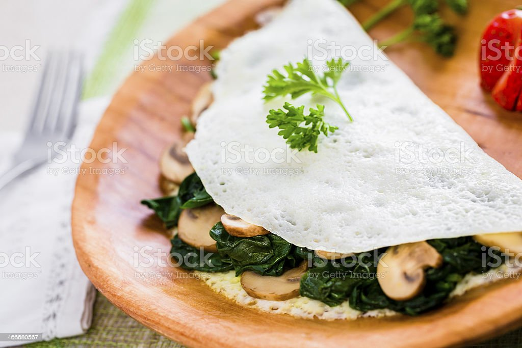 Egg White Omelet with Spinach and Mushrooms stock photo