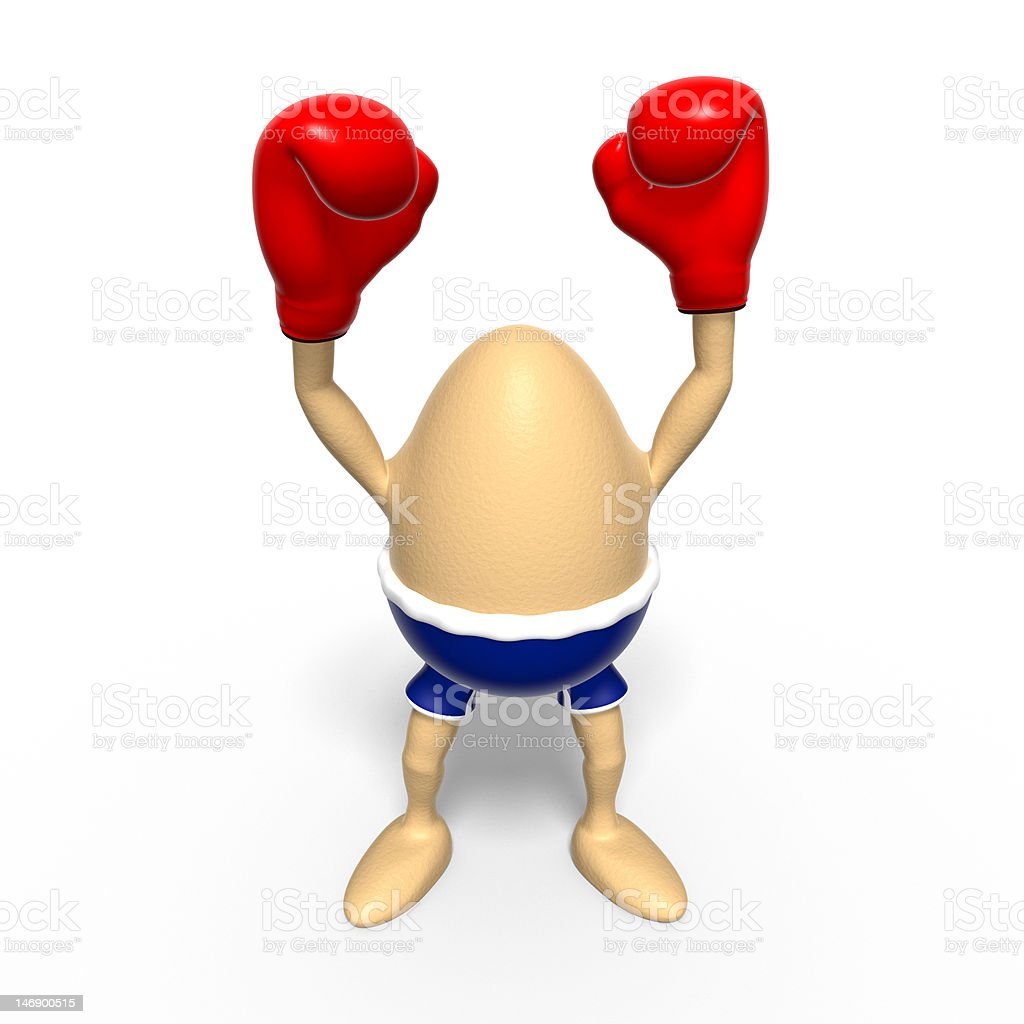 Egg wins boxing challenge royalty-free stock vector art