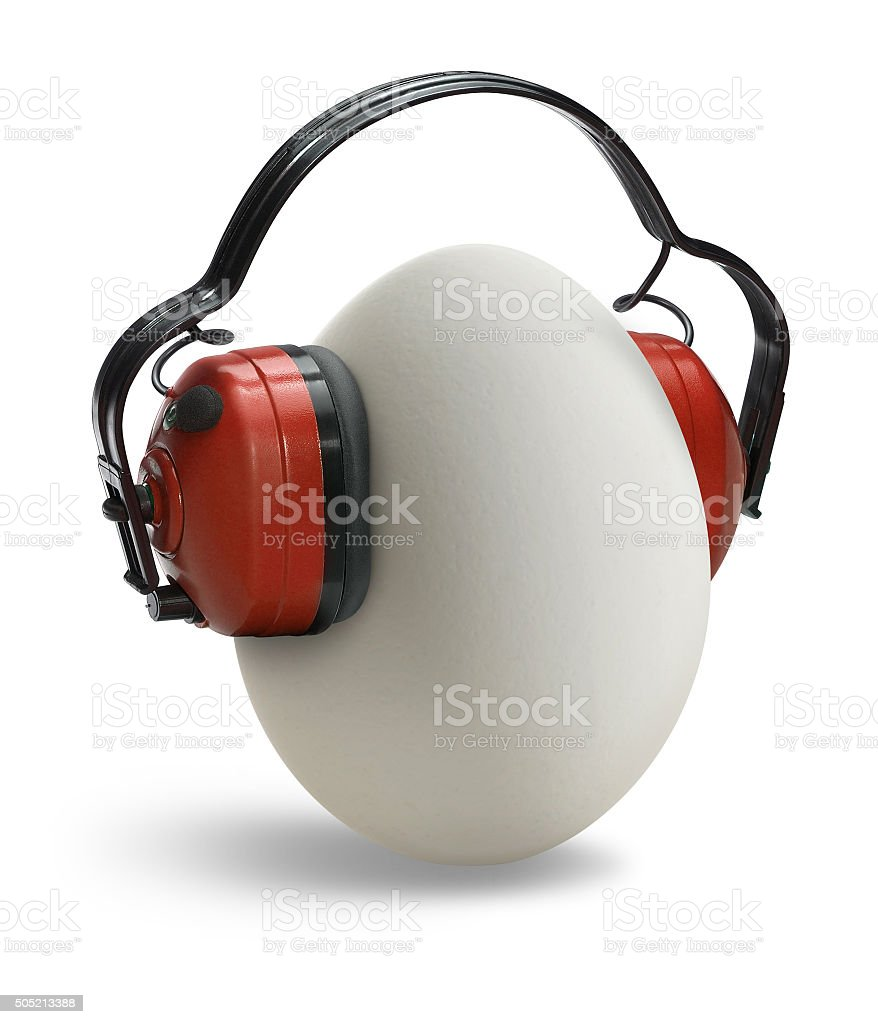 egg with ear protection stock photo
