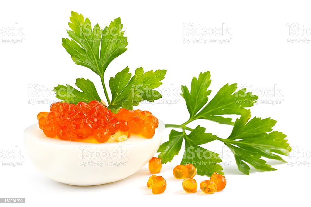 Egg with red caviar royalty-free stock photo