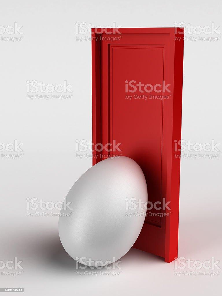Egg&Door stock photo