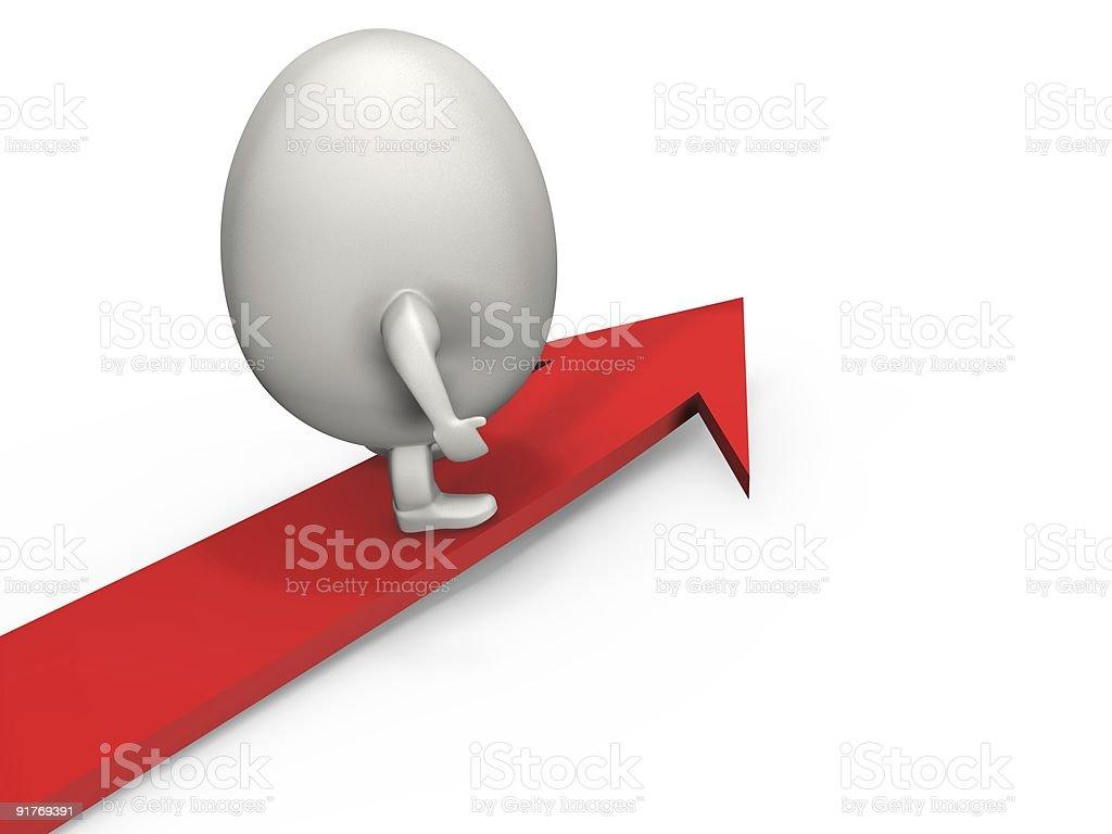 Egghard surfs the arrow royalty-free stock photo