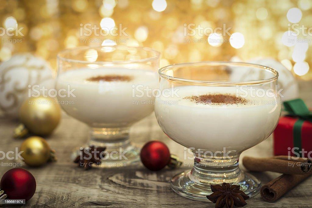 Eggnog at Christmas Time stock photo